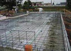ベタ基礎のコンクリート打設工事